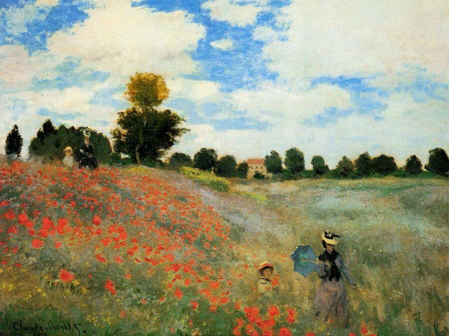 Woman and child in poppy field