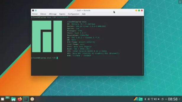 Utilisation de la commande ScreenFetch sur mon laptop sous Manjaro