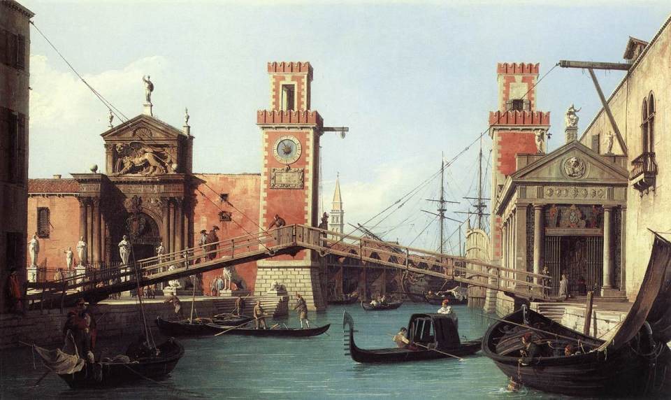 Canaletto. Entrance of the Arsenale basin.