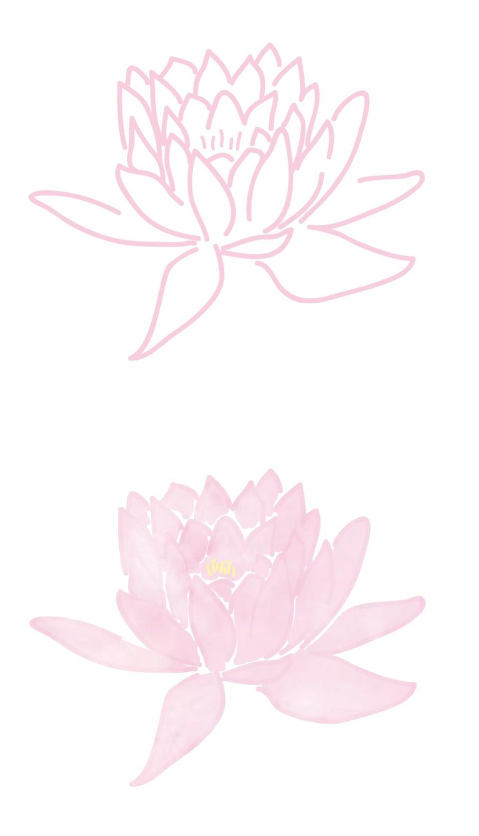 Entwicklung einer in Adobe Illustrator gezeichneten Lotusblüte in Aquarell Optik von Claudia Link Fotografie und Grafikdesign aus Nürnberg Erlangen Roth