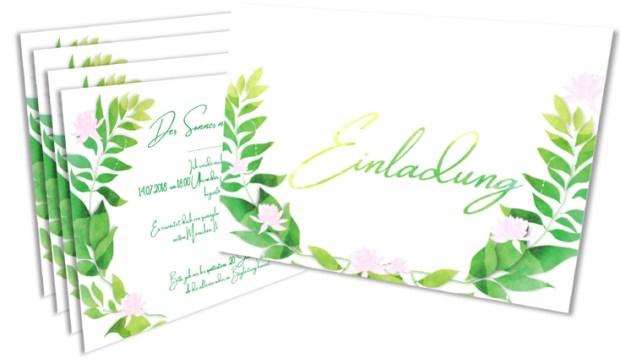 Fertige Einladungskarte zur Sommerparty in Aquarell Optik von Claudia Link Fotografie und Grafikdesign aus Nürnberg Erlangen Roth
