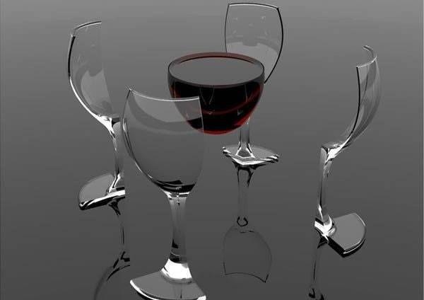 taça de vinho cercada pr quatro taças dispostas como se fossem cadeiras. o vinho tem o papel de mesa