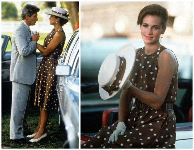"""Julia Roberts, no filme """"Pretty Woman"""", nessas duas fotos, a do lado esquerdo, está junto a um carro de luxo, junto ao seu amor, estão de mãos entrelaçadas, Ele veste um terno claro, muito elegante, e ela veste uma vestido classico marron com bolas brancas, na cabeça usa um chapéu branco, com fita do mesmo tecido do vestido. Na outra foto a direita, ela na mesma cena, está sentada sobre o carro. usando a mesma roupa, mas olha para a esquerda do seu corpo."""