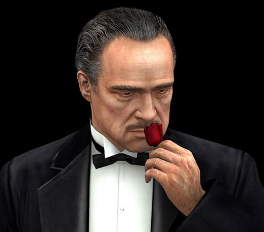 desenho perfomático, do Poderoso Chefão, usando black tie, e na sua mão esquerda junto ao seu rosto, ele seguro um botão de rosa.