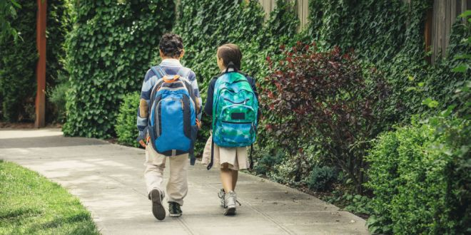 um casal de crianças, aparentemente , ele 10 anos e ela 8 anos, com mochilas, a dele é azul e a dela, verde, nas costas, caminham numa rua , com muros com plantas . Elas usam uniformes , ele calça bege e casaco azul e ela saia bege e casaco azul.