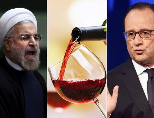 Presidente François Hollande da França a esquerda, ao centro uma garrafa de vinho tinto servindo uma taça com vinho tinto com uma garrafa de vinho e a esquerda Houhani, Presidente do Iran,
