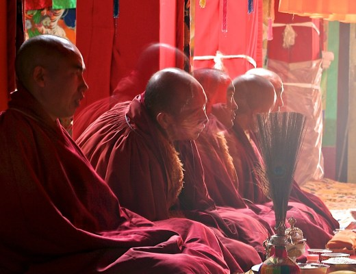 Num templo budista, cinco monges budistas tibetanos, conhecidos por suas carecas lisas, meditam usando seus mantos grenas, estão sentados com pernas cruzadas, um ao lado do outro, na posição tradicional budista,