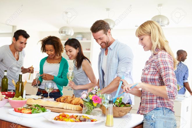 Blog-Couple-dinner-at-home-31012482-Group-Of-Friends-Having-Dinner-Party-At-Home-Stock-Photo
