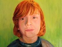 Kinderportrait. Öl auf Malplatte, 40 x 30 cm, 2016