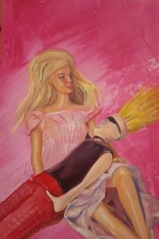 Boy meets Girl. Acryl und Öl auf Papier, ca. 35 x 55 cm, 2017