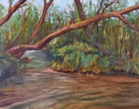 Hochmoor bei Mühlen. Öl auf Malplatte, 30 x 24 cm, 2020