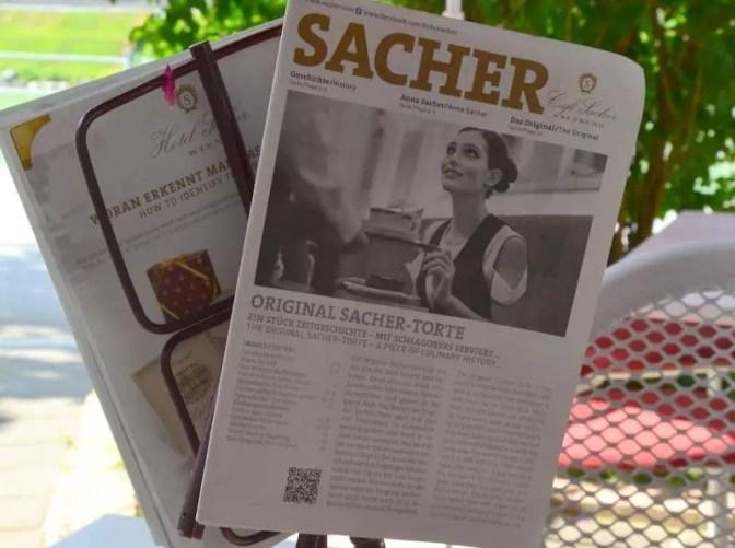 Speisekarte Café Sacher
