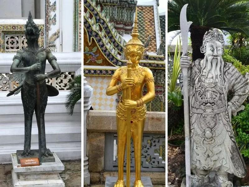 Verschiedene Wächterfiguren im Grand Palace Bangkok