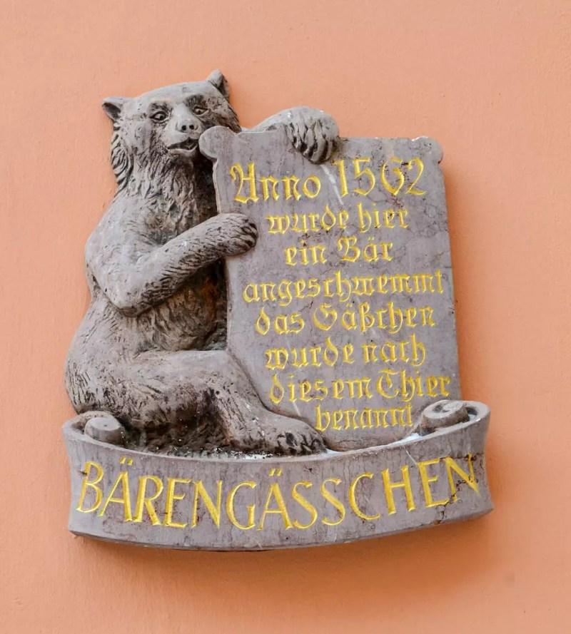 Erinnerungstafel im Bärengässchen
