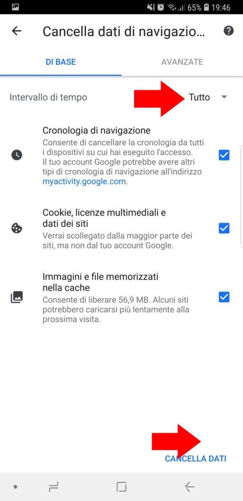 cancellare cronologia google chrome 003