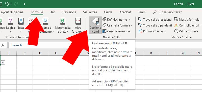 Elenco a discesa Excel - Formule - Gestione Nomi