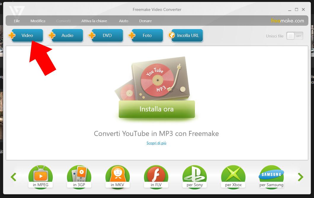 Freemake Video Converter - Carica Video