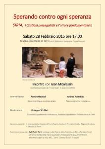 Siria Convegno  28 2 2015 ore 17 Museo Diocesano