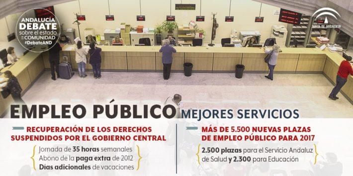 Susana Díaz anuncia una oferta de 5.500 plazas de empleo público para 2017