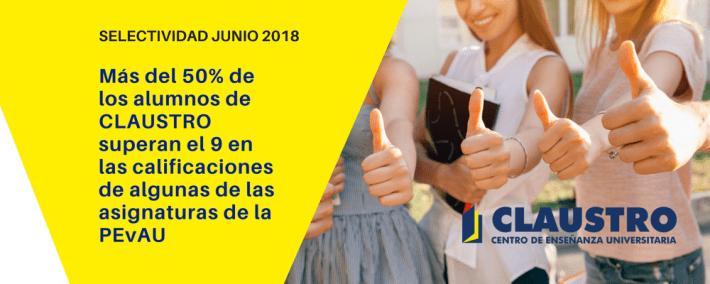 Excelentes resultados de los alumnos de CLAUSTRO en la Selectividad de junio de 2018 - Academia CLAUSTRO