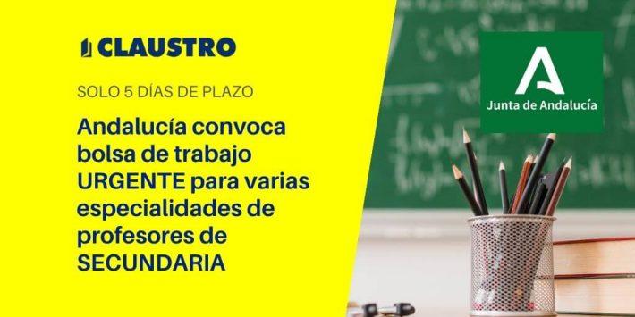 Convocatoria urgente de bolsa de trabajo para profesores de Secundaria en Andalucía (solo 5 días de plazo)