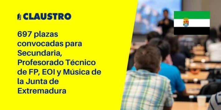 Extremadura convoca oposiciones para Secundaria, Profesorado Técnico de FP, EOI y Música