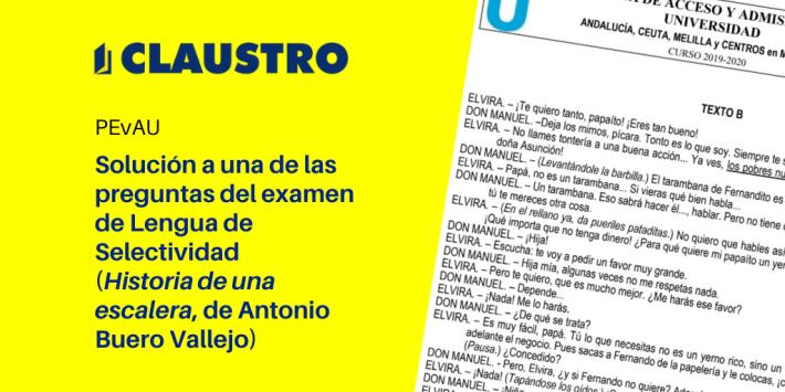 Solución a la pregunta 4B (Historia de una escalera, de Antonio Buero Vallejo) del examen de Lengua de Selectividad (Andalucía)