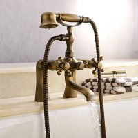 """LightInTheBox Antique Vintage Brass 3''- 6"""" Centers Two Handle Bathroom Clawfoot Bathtub Shower Combo Faucet Wall-Mounted Antique Brass Finish Two Handles Two Holes. Discount Faucet"""