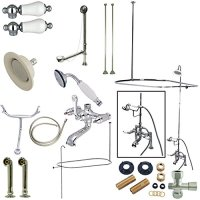 Kingston Brass CCK1171DPL 7-Inch Center Clawfoot Tub Fixture With Shower Riser Package Combo, Polished Chrome