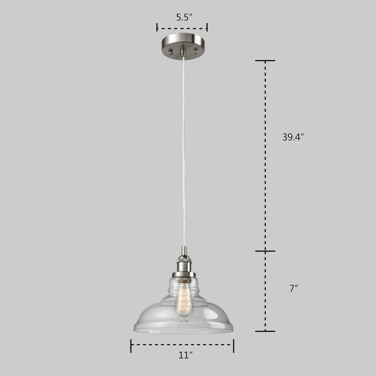 Industrial Brushed Nickel Pendant Light Glass Dome Fixture