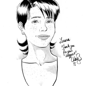 November 2016 sketch of satellite character #9, won by Laura.