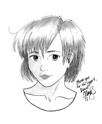December 2016 sketch of Tomoe Toyosaka (Sexy Losers) won by David.