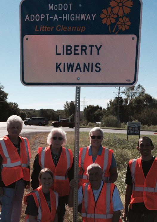 Executive Vice President Debbie Jones, current Secretary and Past Distinguished Lt. Governor of the Liberty Kiwanis Club, joined members for a cleanup day for the group's adopted roadway on 291 Highway.