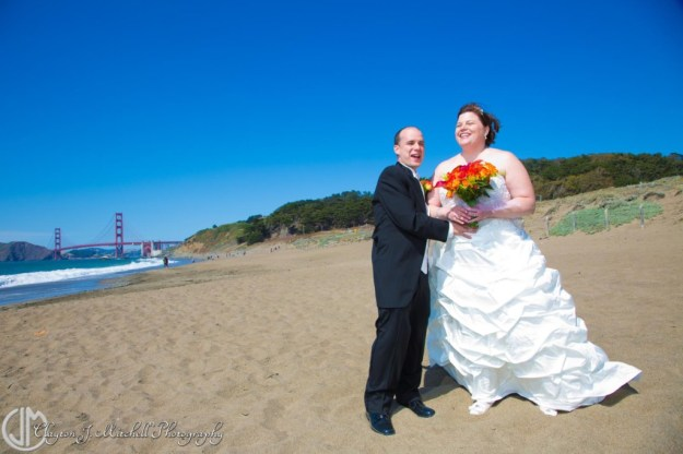 Bride and Groom Baker Beach Wedding
