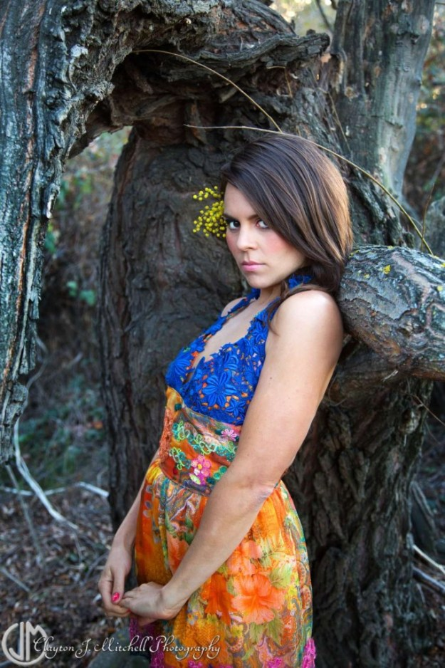 Outdoor Portrait of a woman in a colorful dress