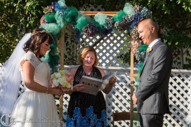 wedding vows in the secret garden at Falkirk