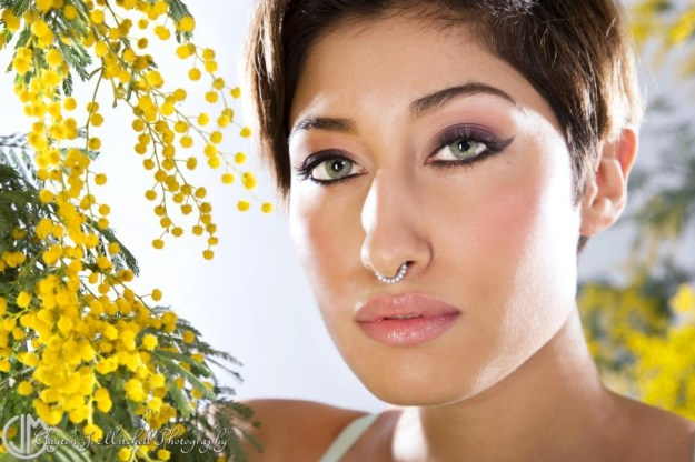 beauty shot with acacia flowers