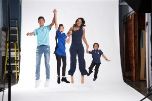 Behind the Scenes Jumping Family in Studio