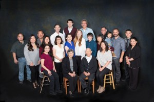 Large Family group portrait in studio