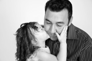 BW Father and Daughter