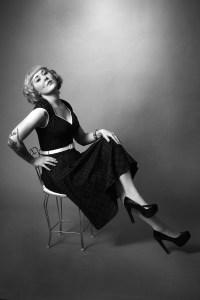 Retro studio fashion shoot in black and white