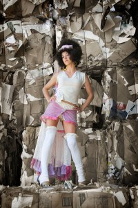 Fashion Photo of woman at recycling center