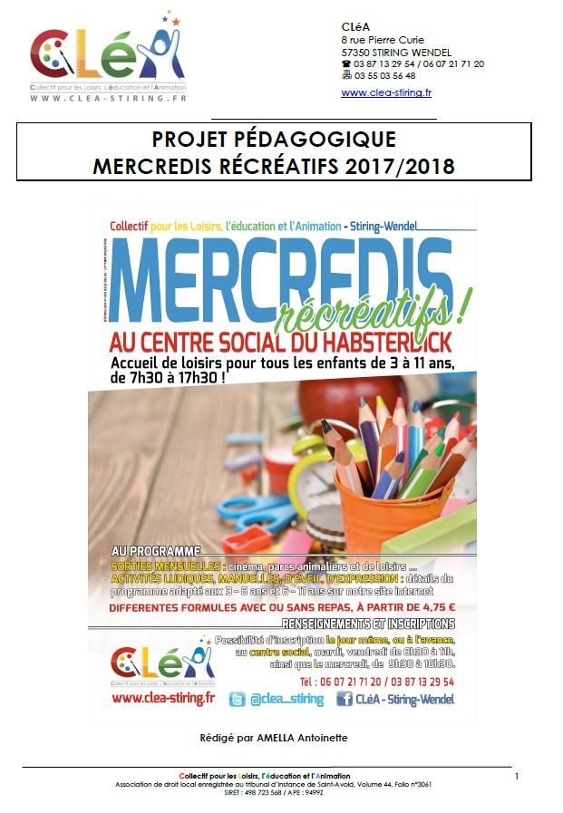 Accueil des Mercredis Récréatifs 2017 – 2018 : le projet pédagogique