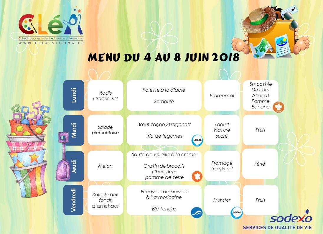 Menu périscolaire Juin 2018