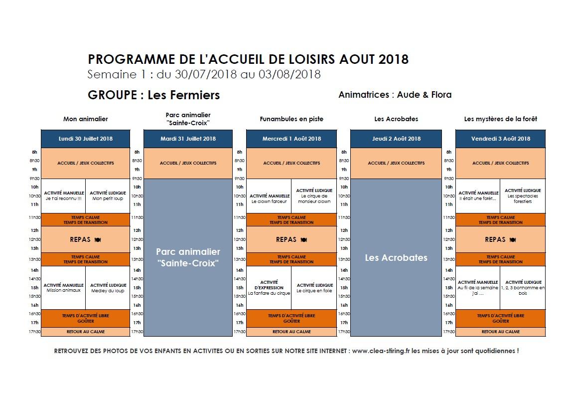 Planning des activités de l'accueil de loisirs Août 2018, semaine 1/3
