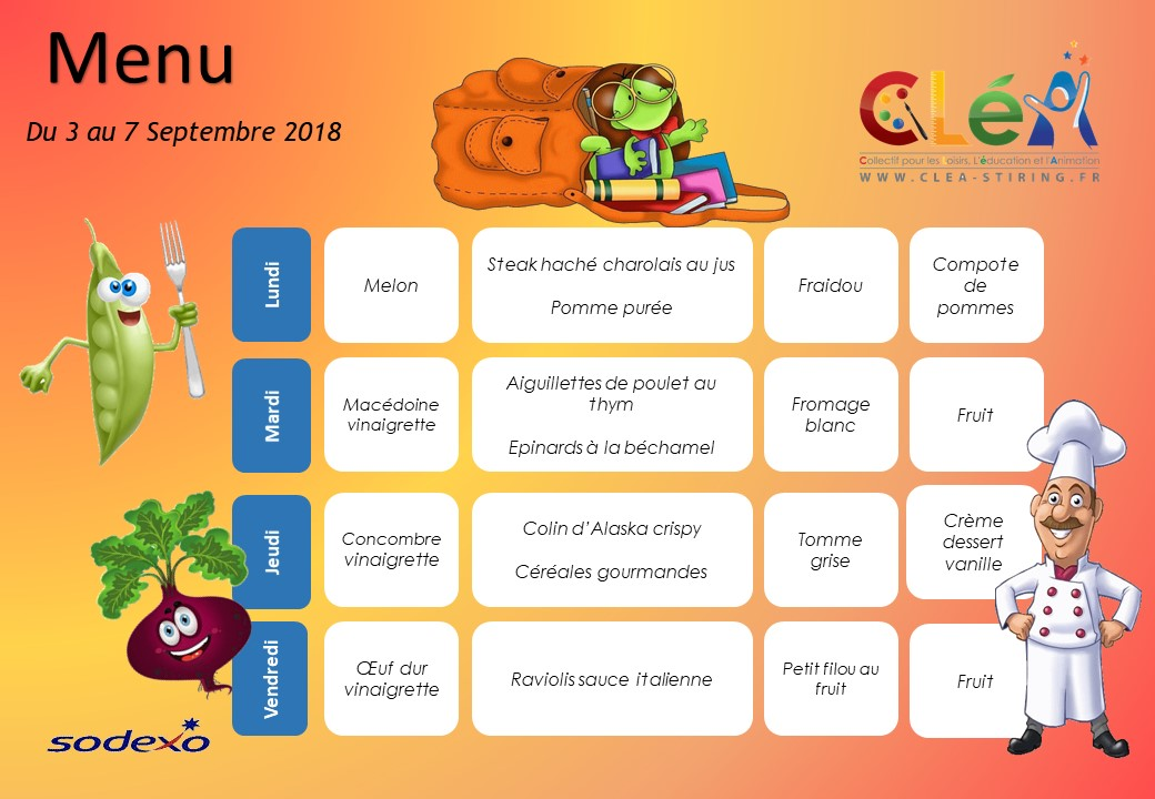 Menu périscolaire Septembre 2018