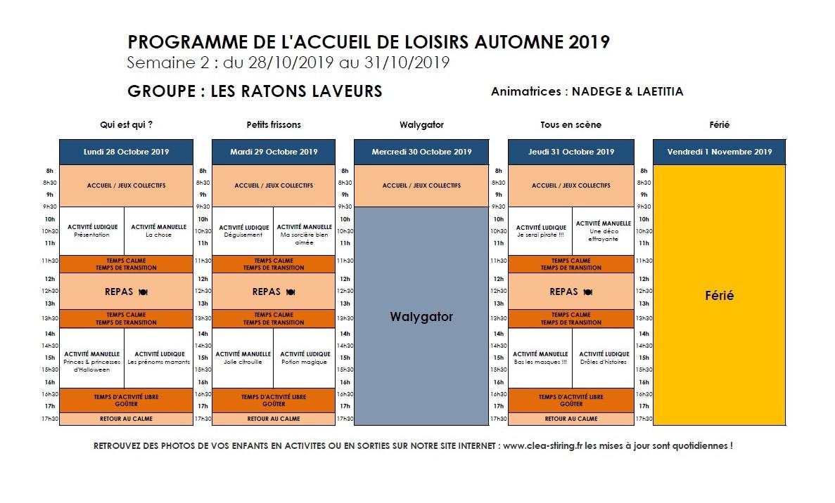 Planning des activités de l'accueil de loisirs Automne 2019, semaine 2