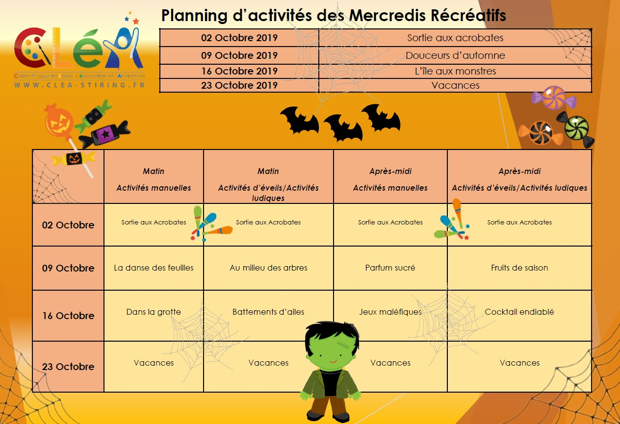 Planning des mercredis récréatifs octobre 2019