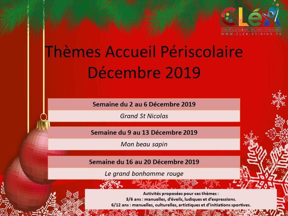Planning des activités de l'accueil périscolaire du mois de Décembre