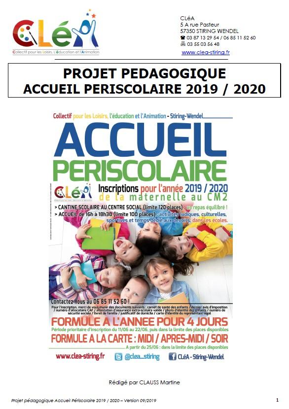 Accueil périscolaire 2019 – 2020 : le projet pédagogique